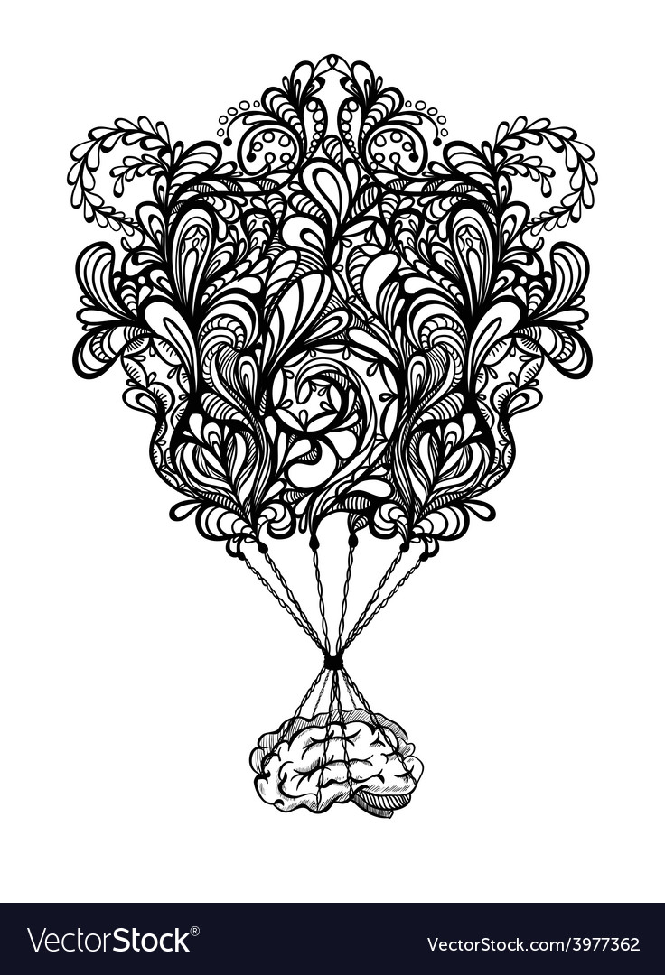 Creative concept of the human brain with zentangle vector image