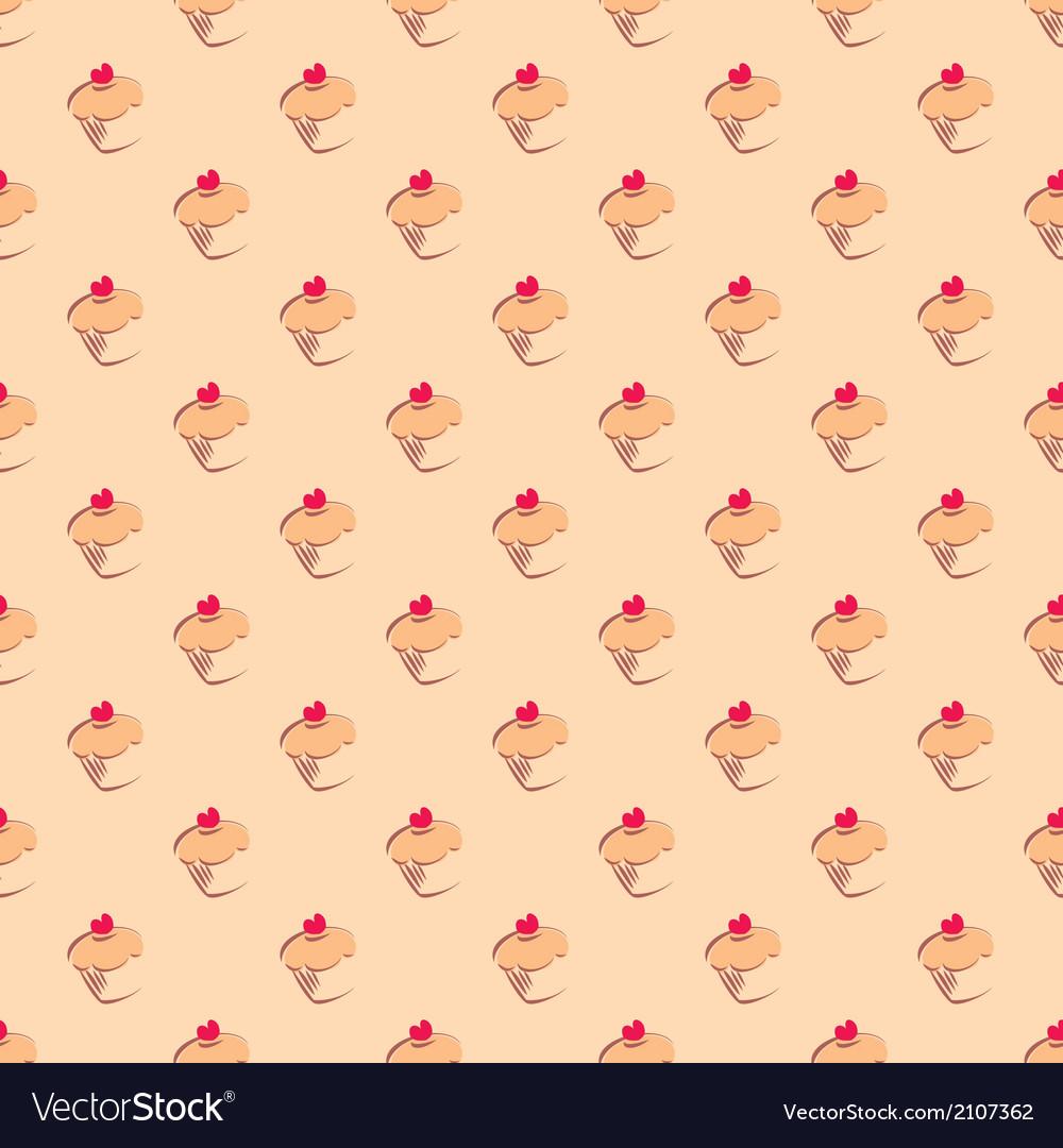 Cupcake tile delicious background wallpaper vector image