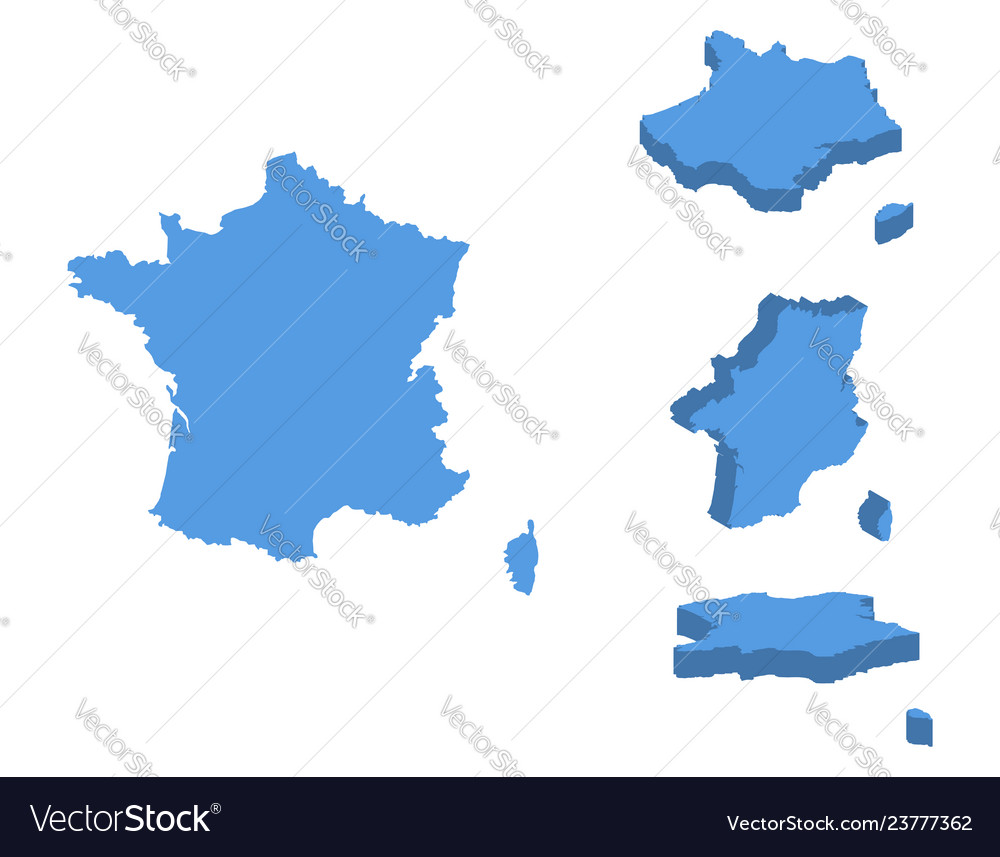 France isometric map country isolated on a white