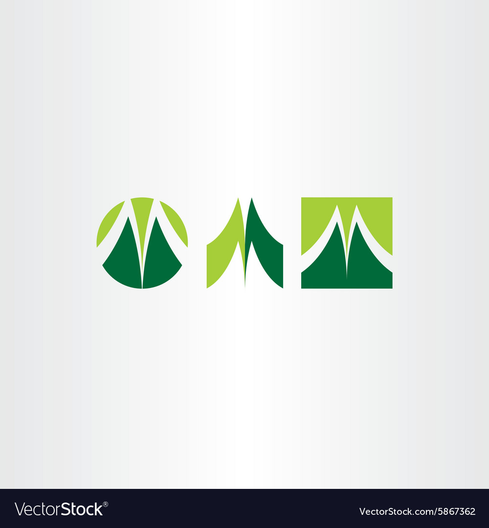 Green letter m logo set