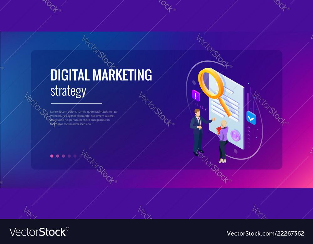 Isometric digital marketing strategy concept