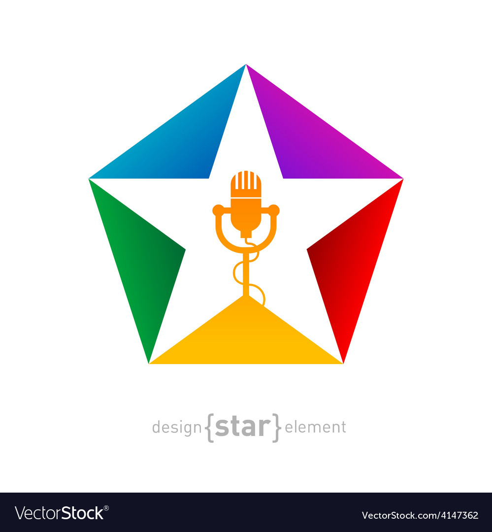 Music logo template - star with microphone design vector image