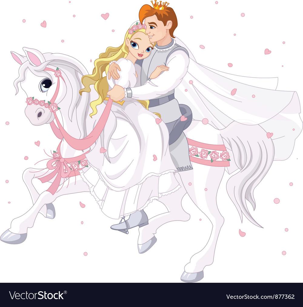 Romantic couple on horse