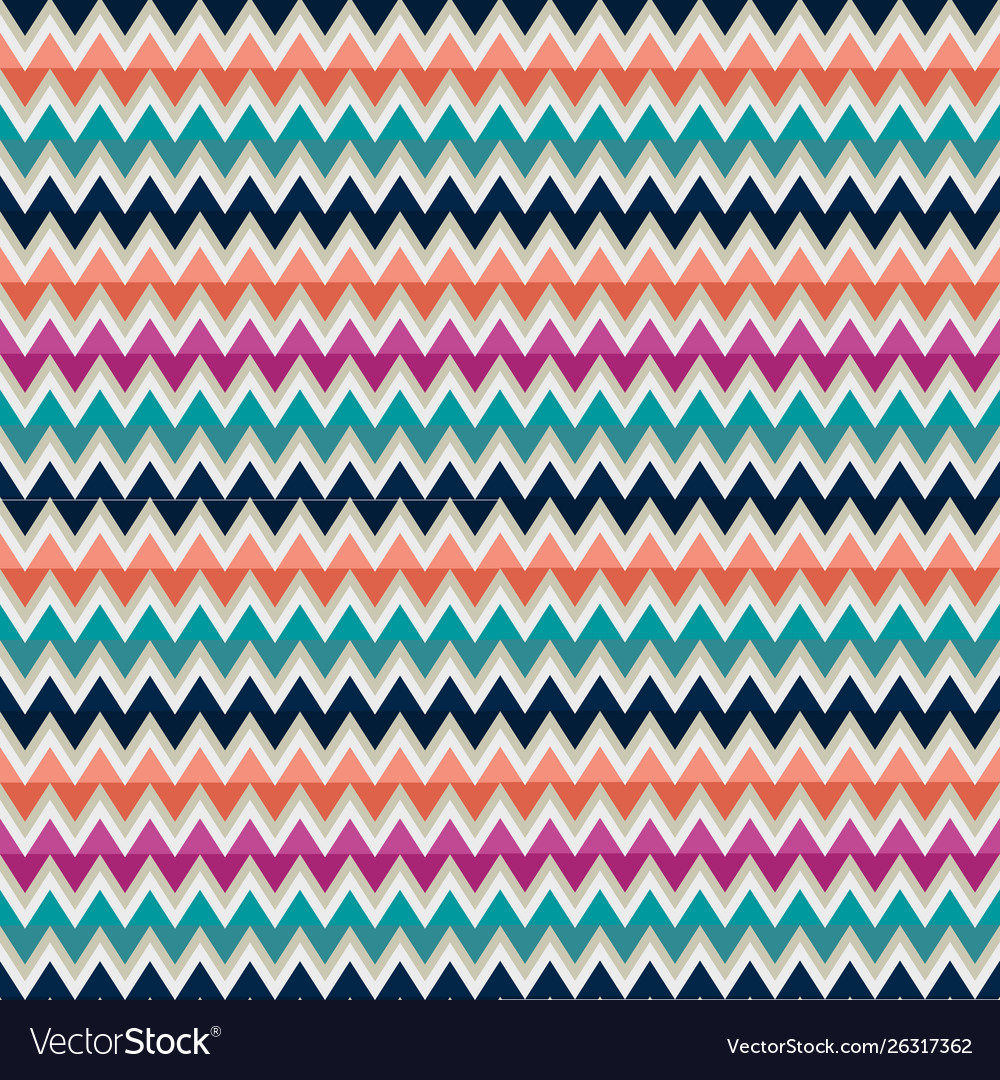 Seamless pattern with zigzag in mulicolors
