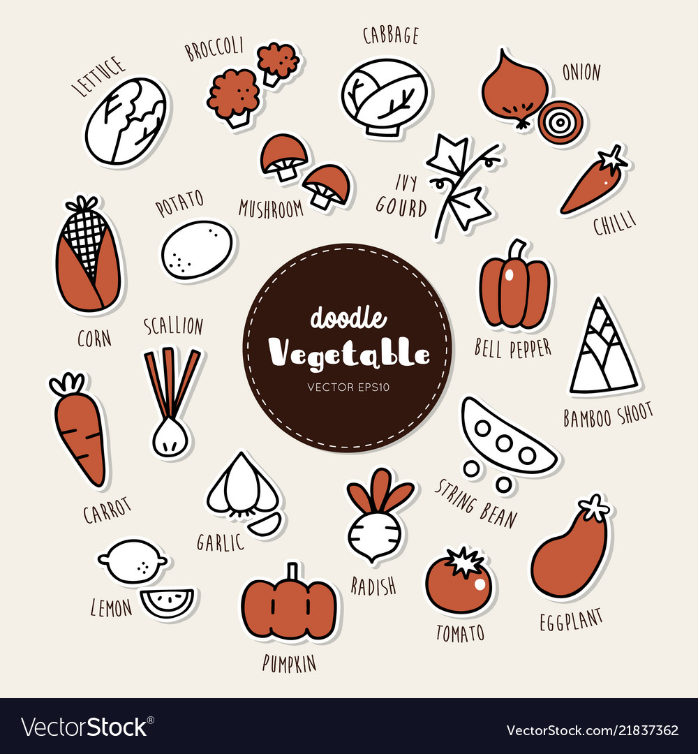 Set of vegetable icons doodle
