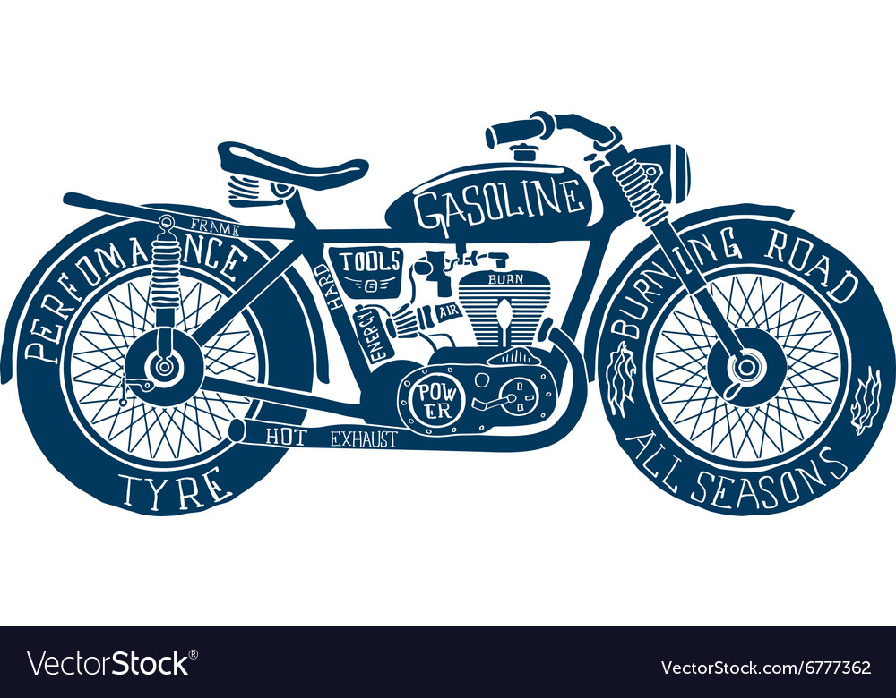 Vintage Motorcycle Hand drawn Silhouette