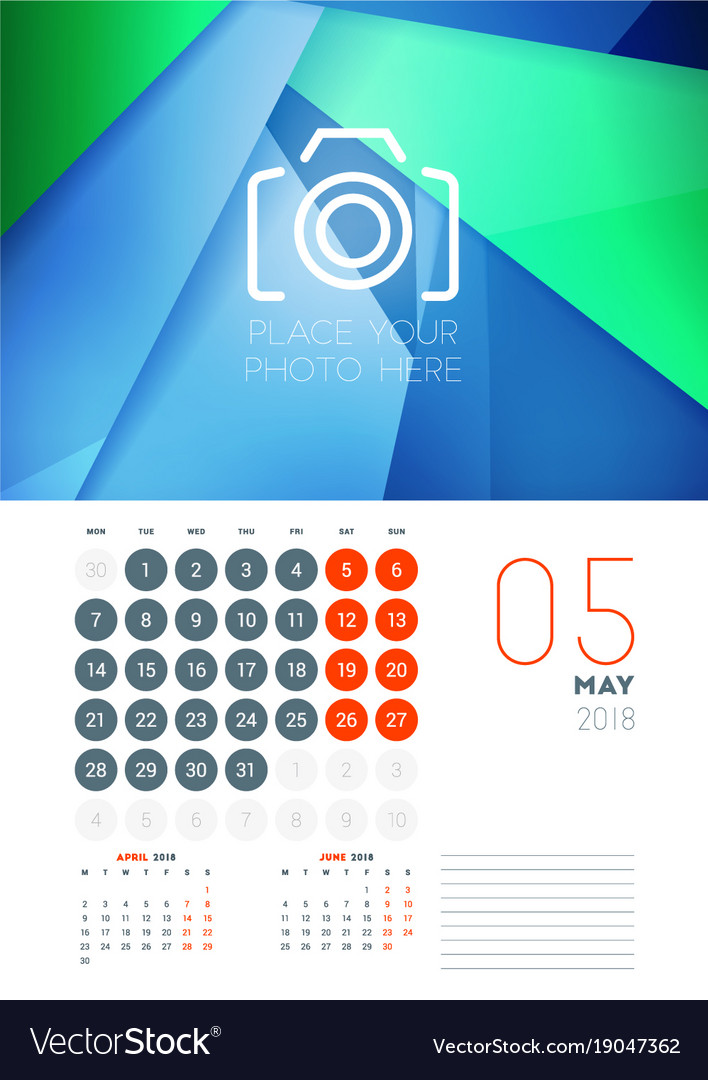Wall Calendar Template For May 2018 Design Print Vector Image