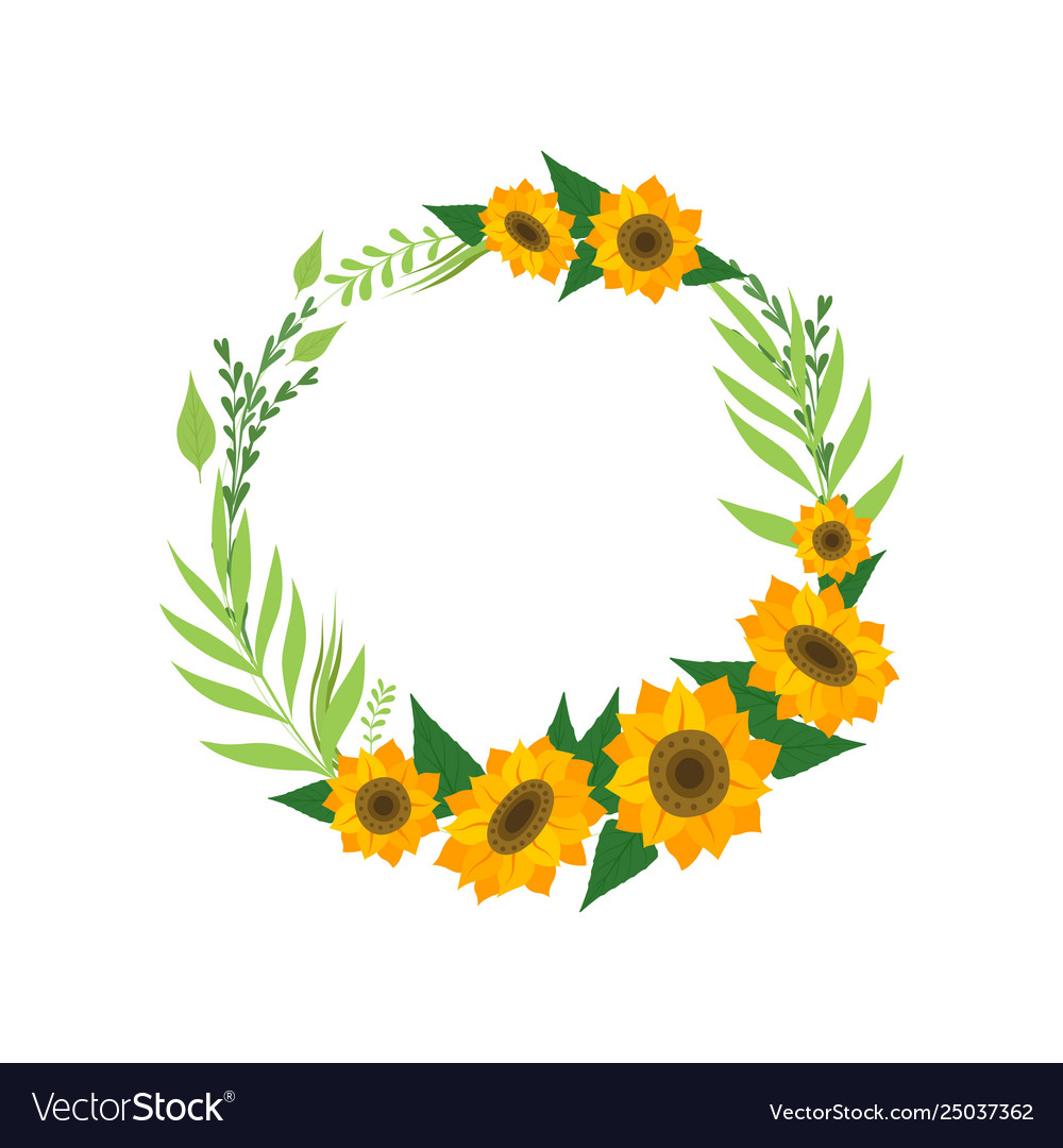 Wreath with sunflowers floral round border with Vector Image