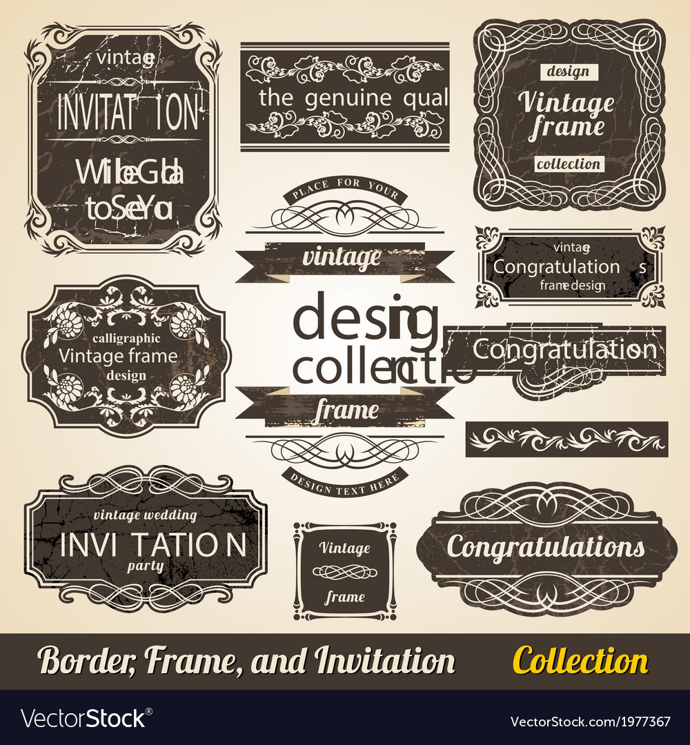 Calligraphic Element Border Corner Frame and vector image