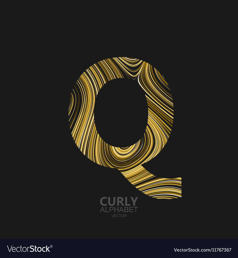 Curly textured Letter Q