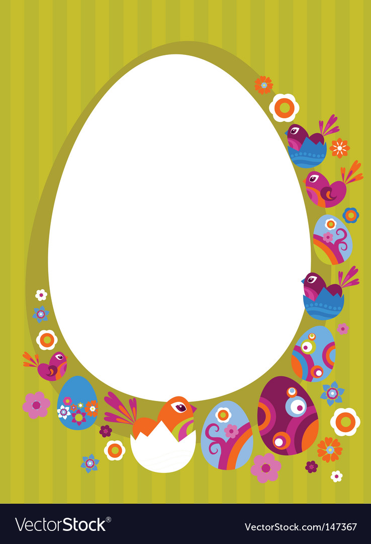 Easter card with retro frame vector image