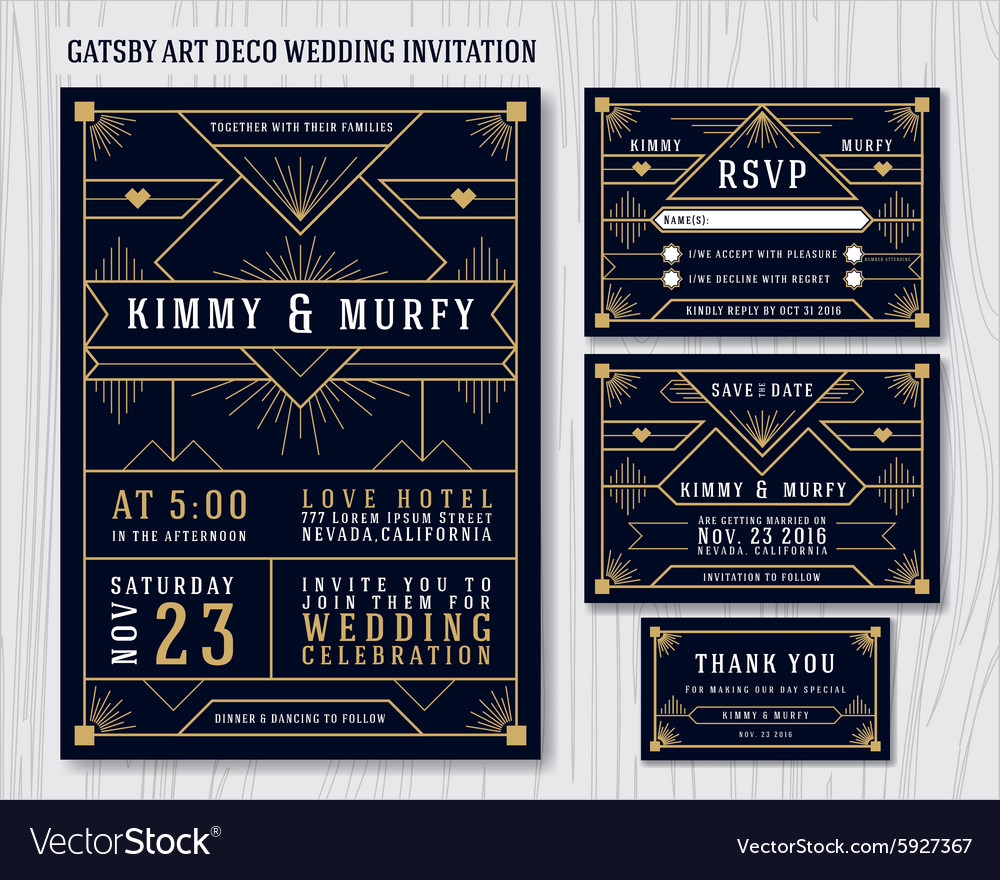 gatsby art deco wedding invitation design vector image