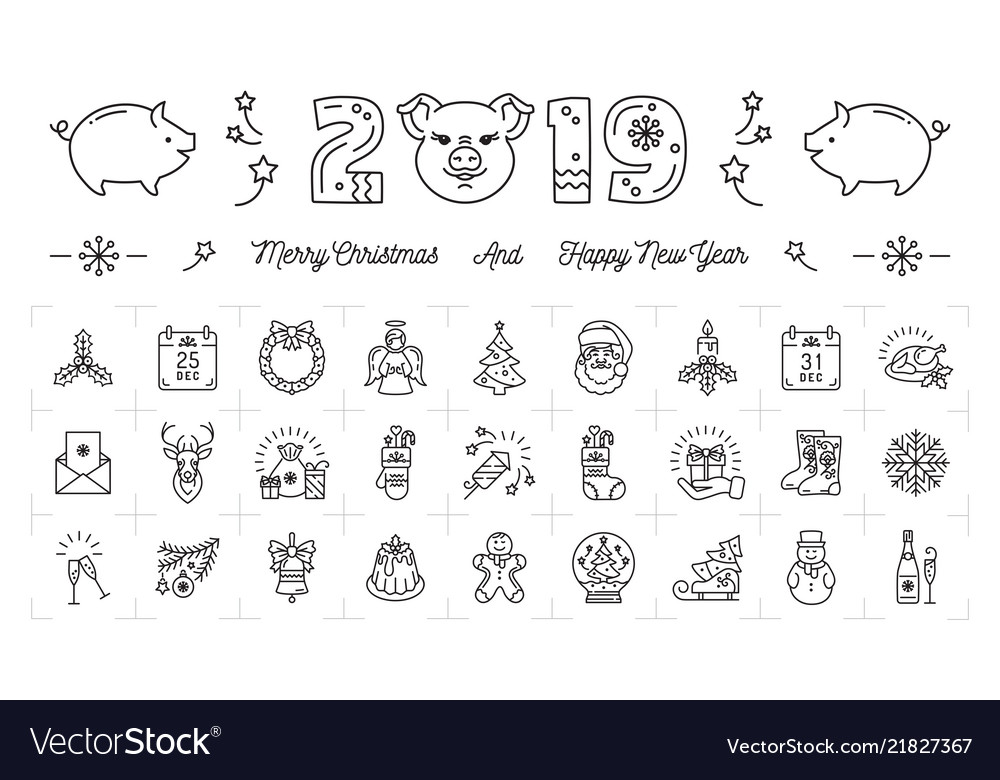 New year icons pig icons and 2019 year number