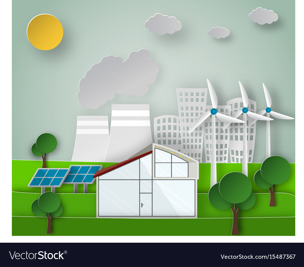 Paper art of a renewable green