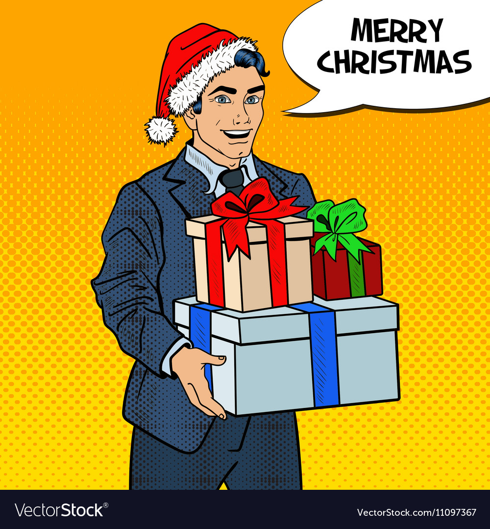 pop art man in santa hat with christmas gifts vector image - Man Gifts For Christmas
