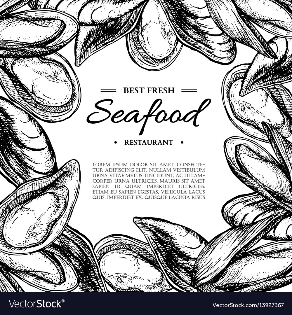 Seafood hand drawn mussel and oyster framed