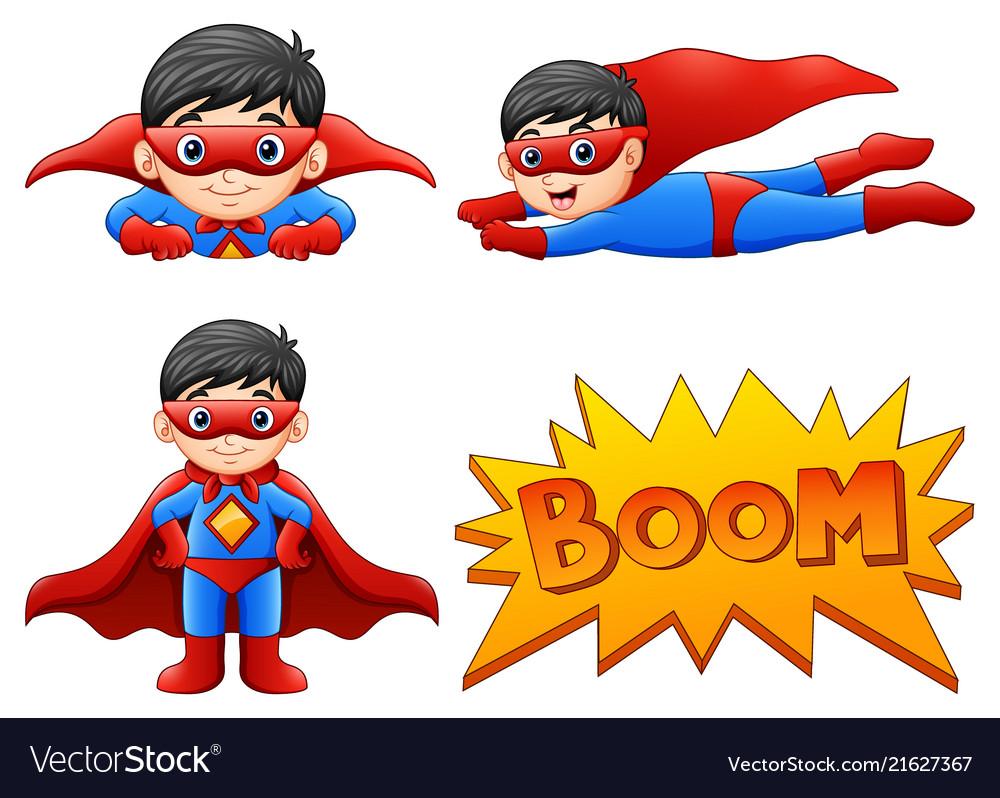 Set of boy wearing superher
