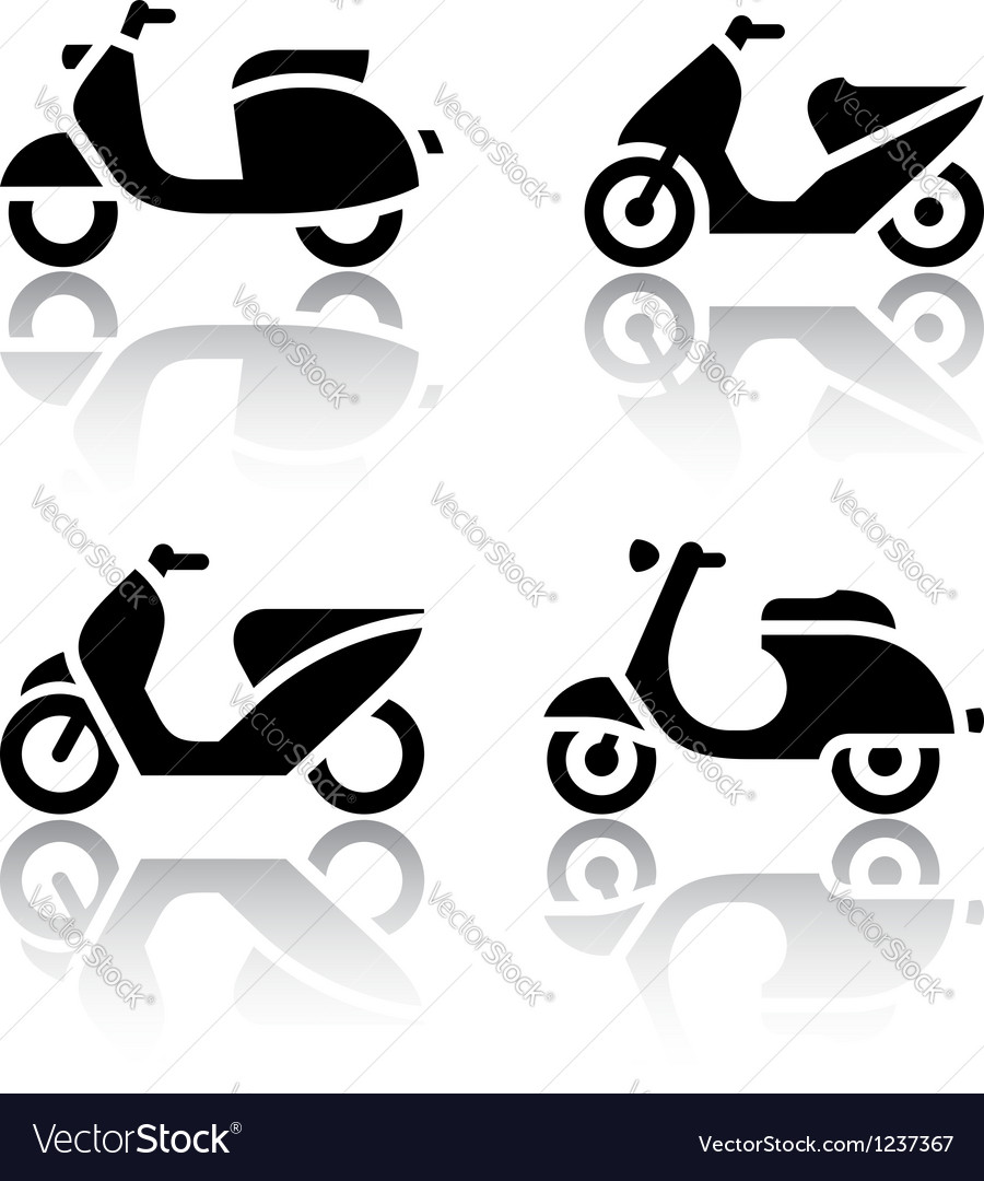 Set of transport icons - scooter and moped