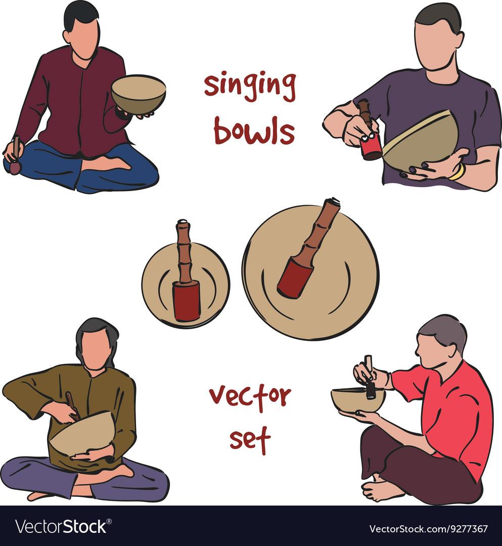 Singing bowls musician set