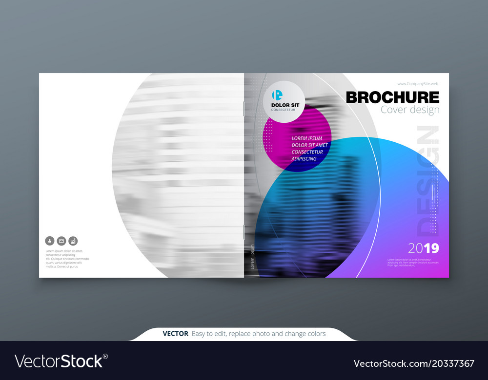 Square brochure design violet purple corporate