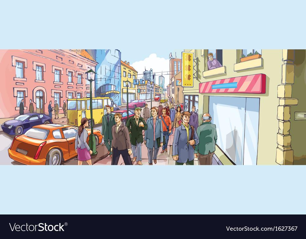 Street Crowd vector image