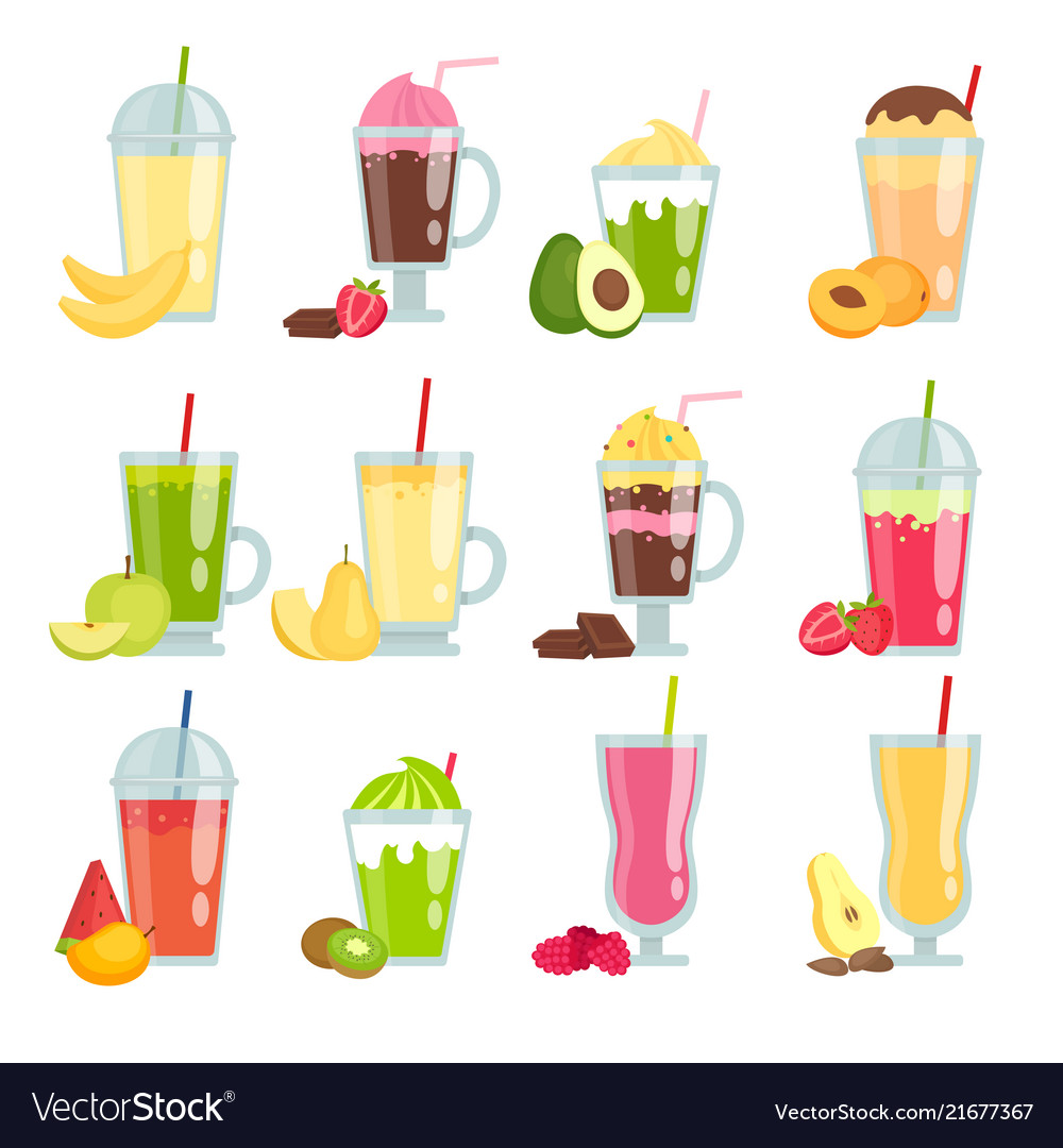 Summer drinks smoothie various pictures fruit