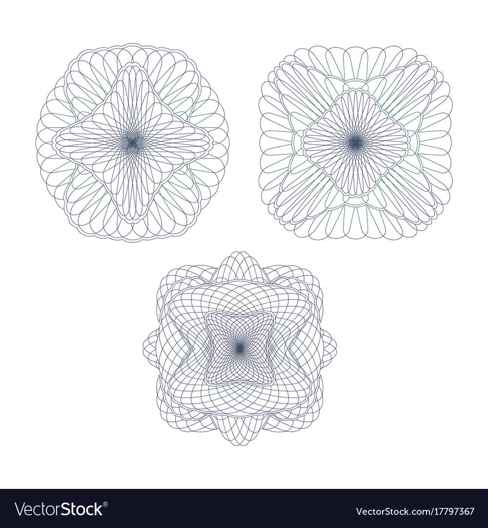 Three decorative protective elements vector image