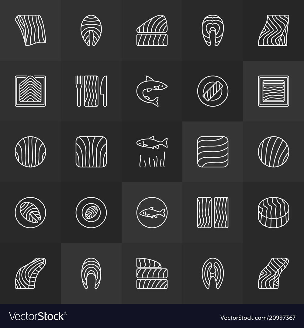 Trout steak and fillet icons - salmon red vector image