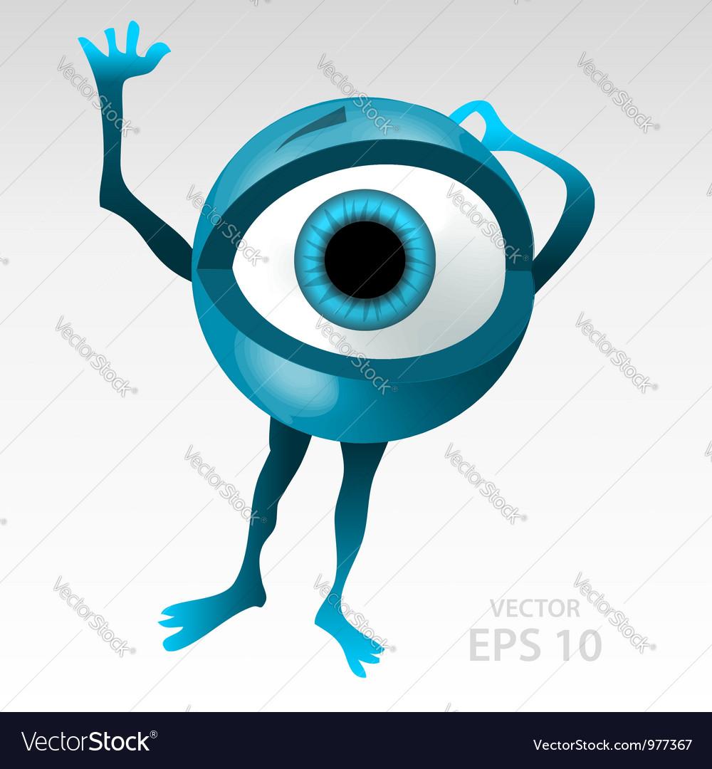 Warning anxious blue eyeball character vector image