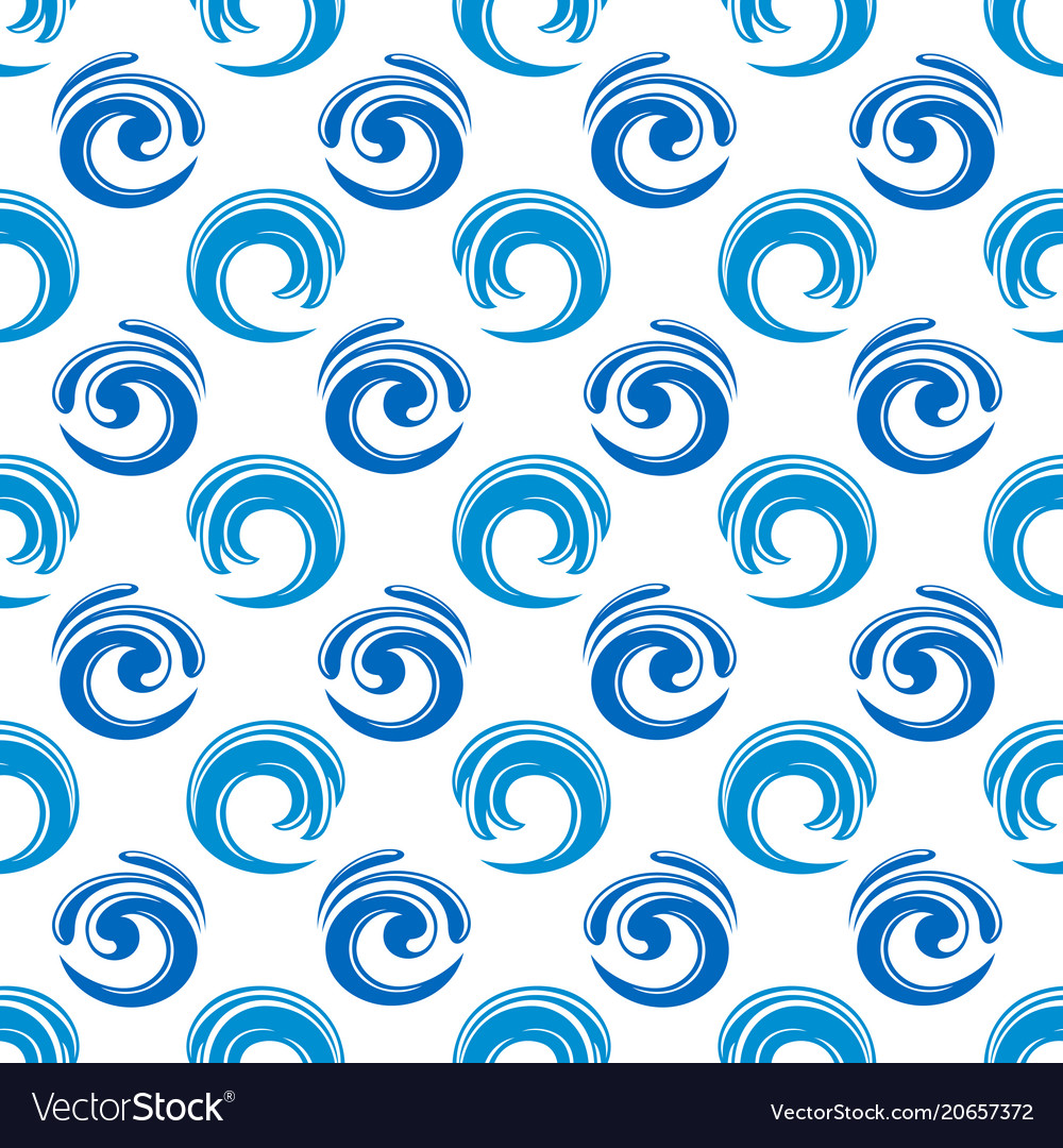 Abstract blue waves seamless pattern design