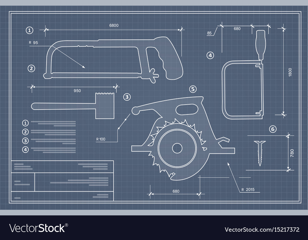 Blueprint building tool set drawing plan layout vector image malvernweather Choice Image