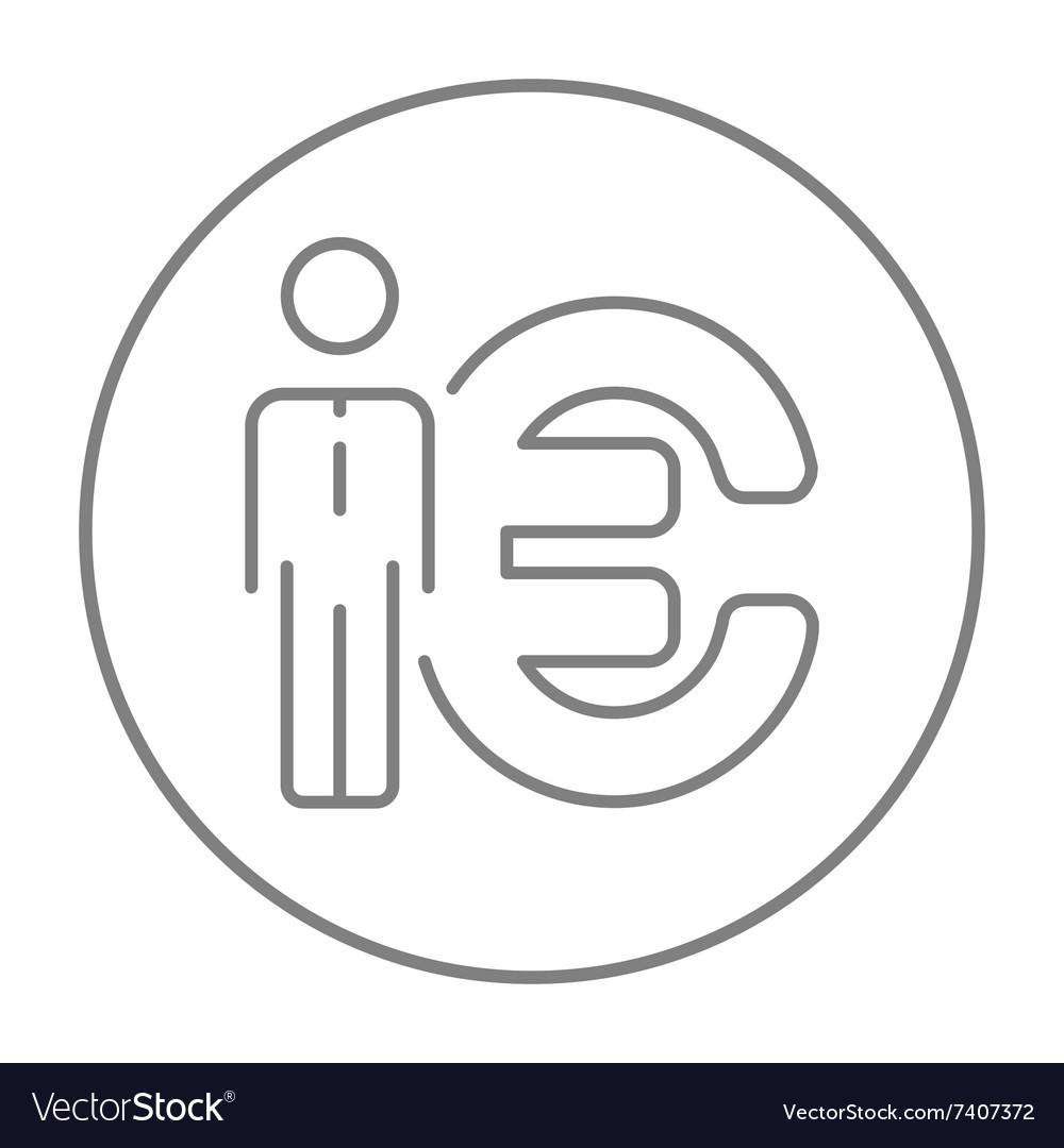 Businessman Standing Beside The Euro Symbol Line Vector Image