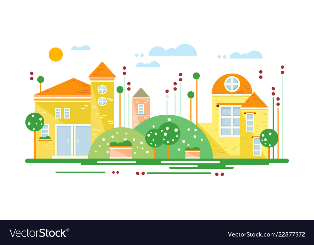 Cute real estate cottages residential buildings