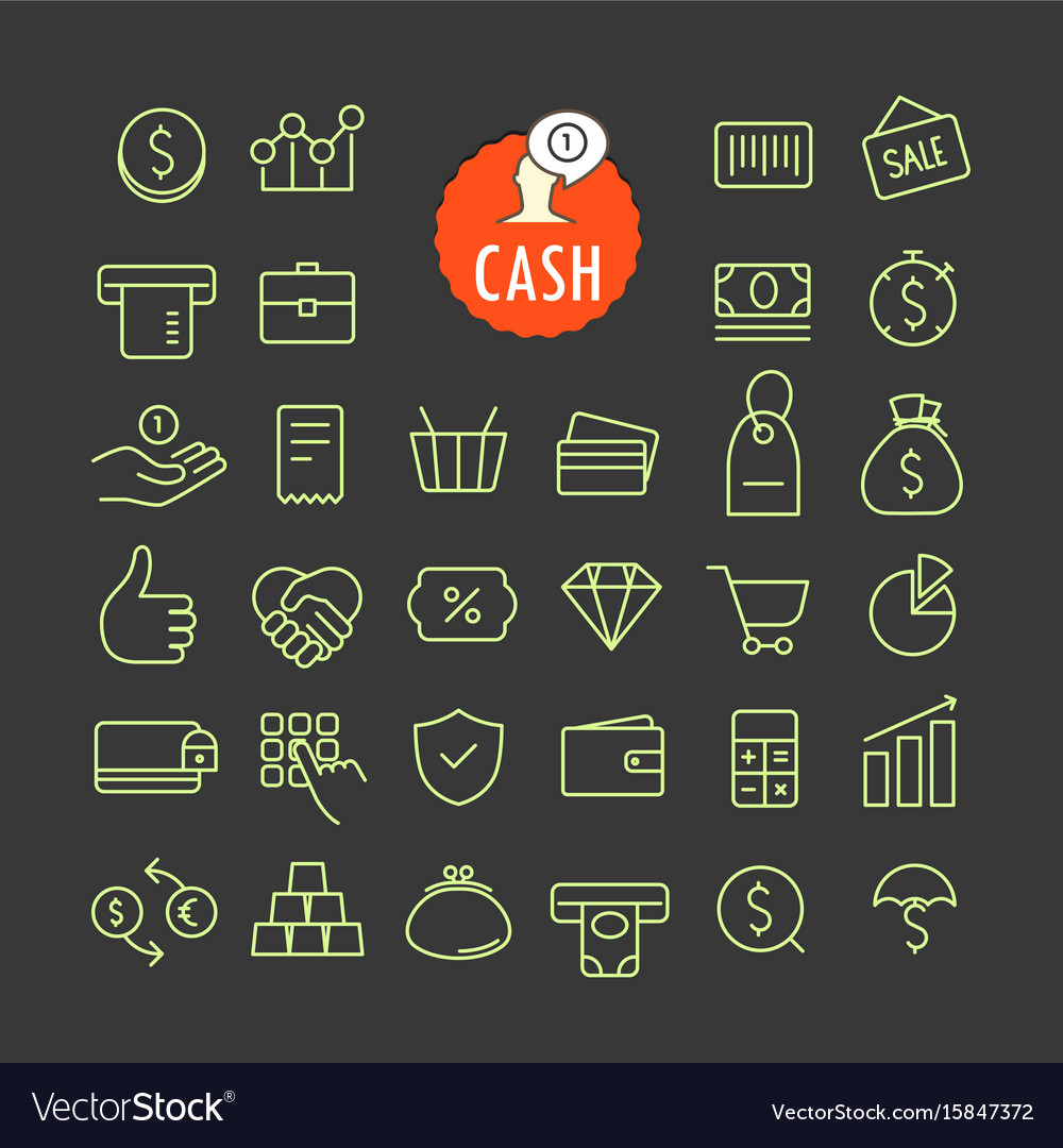 Different cash icons collection web and mobile vector image
