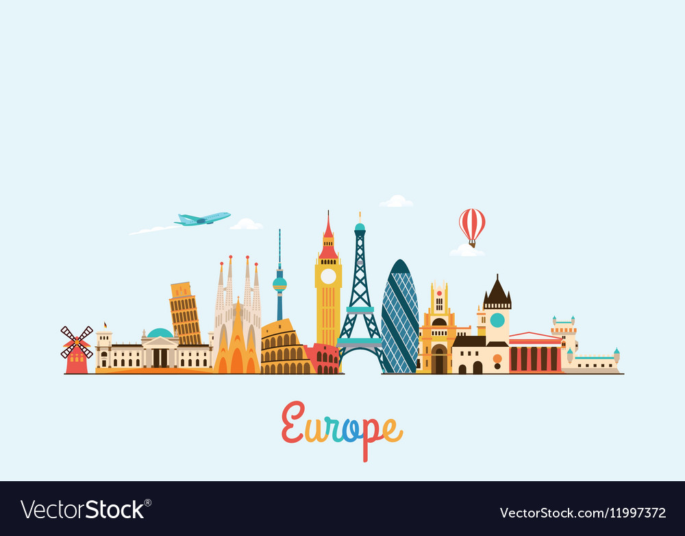 Europe skyline Travel and tourism background