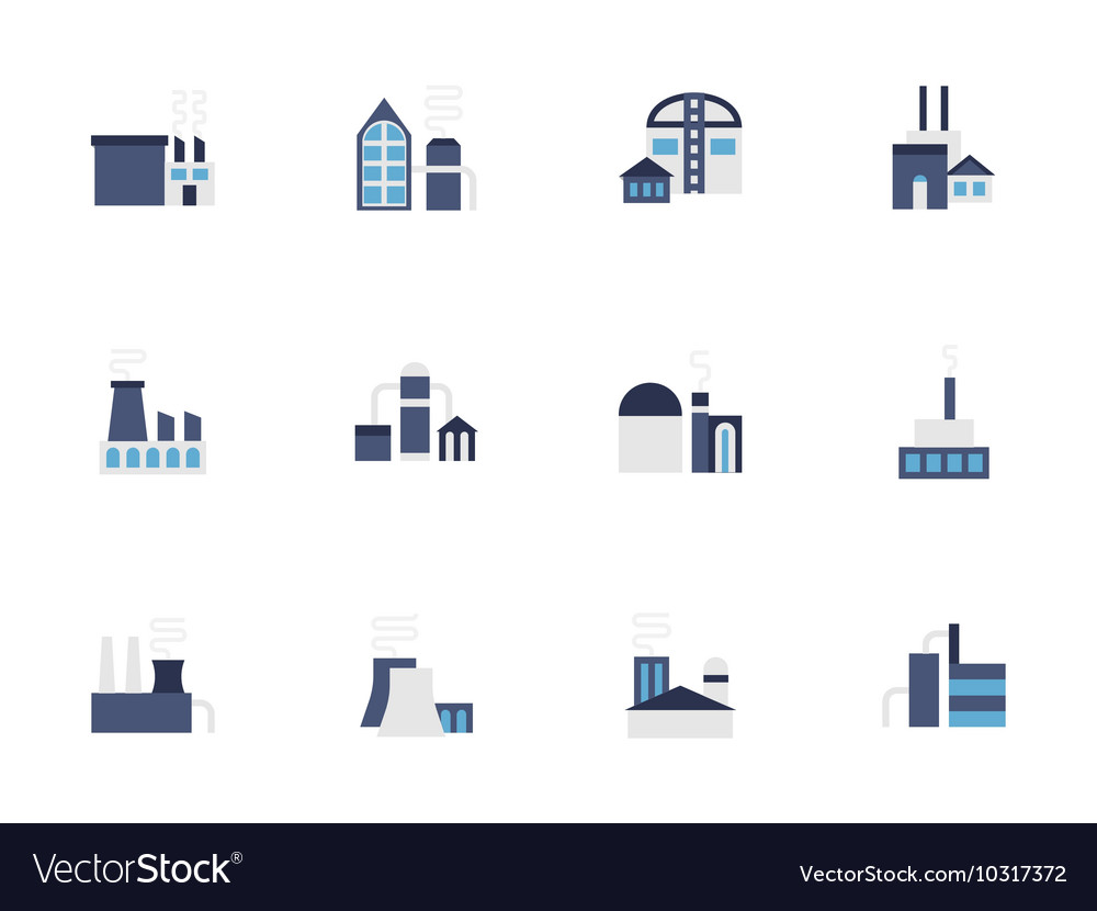 Factory blue flat style icons set