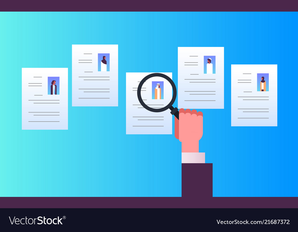 Hand hold magnifying zoom cv resume choosing vector image altavistaventures Gallery