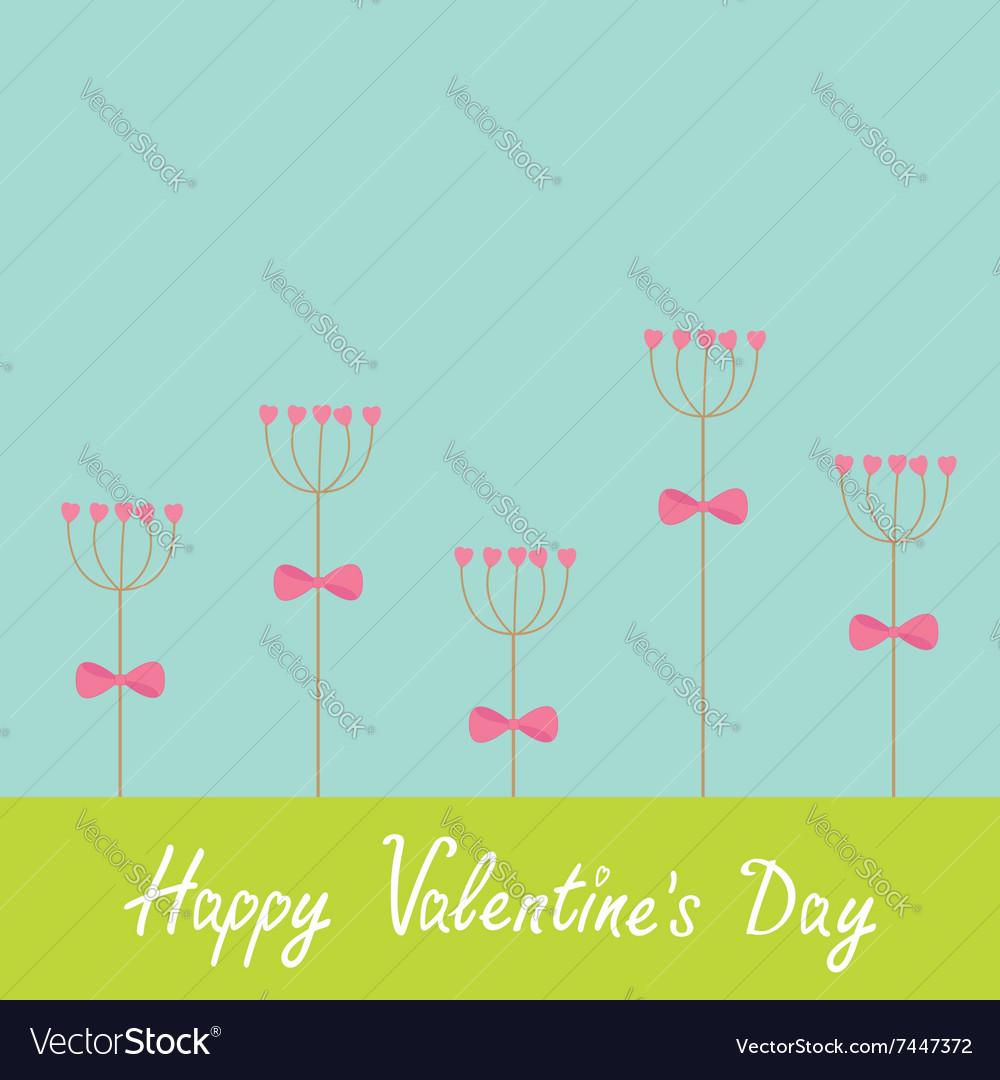 Happy Valentines Day Love card Heart stick flower