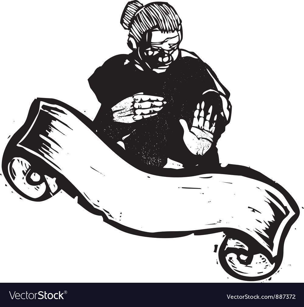 Old Woman with banner vector image