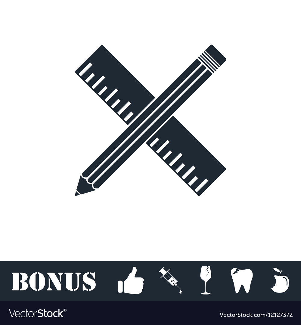 Pencil and ruler icon flat