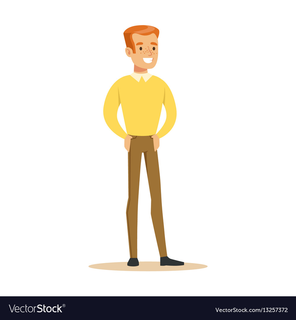 Redhead guy in yellow sweater overwhelmed with vector image