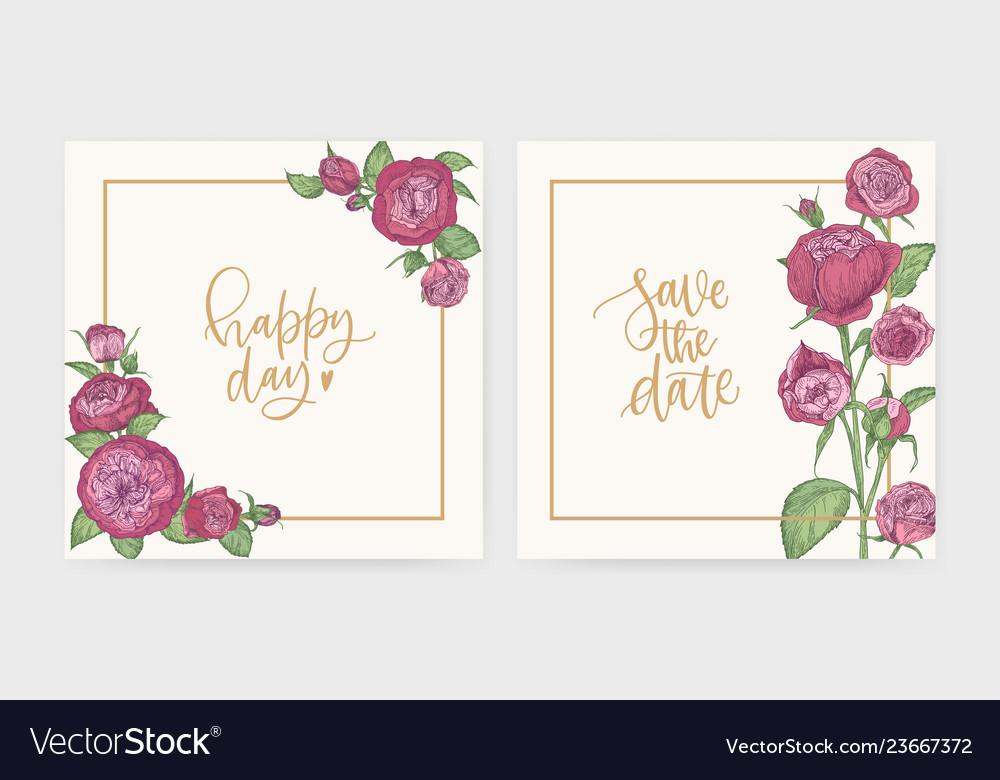Set of elegant square wedding invitation and save