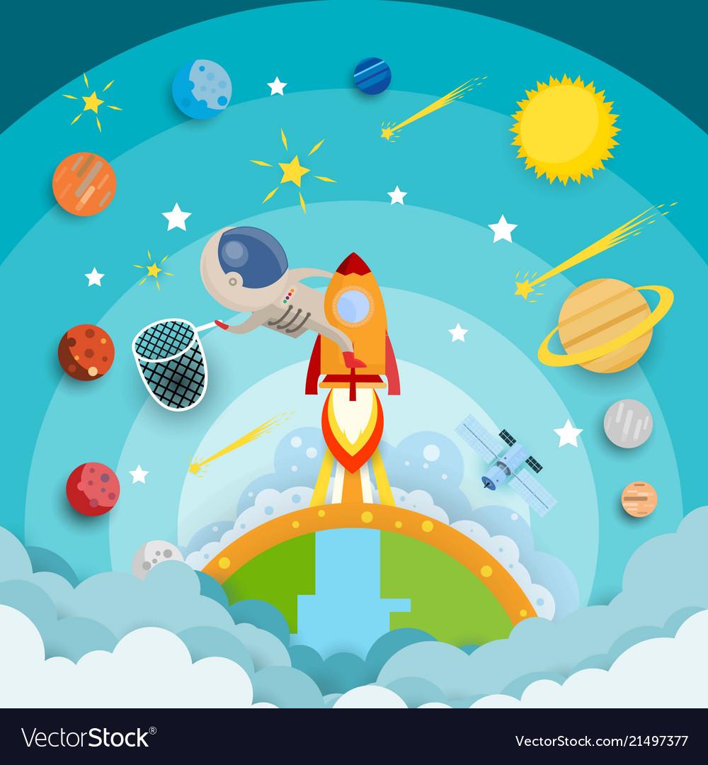 Astronaut star catch riding a rocket and smoke
