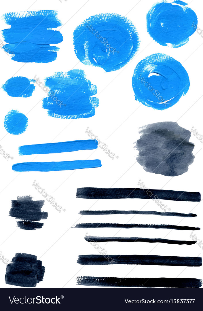 Blue and black watercolor blots