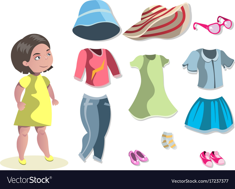 Cute girl with different choosing clothes