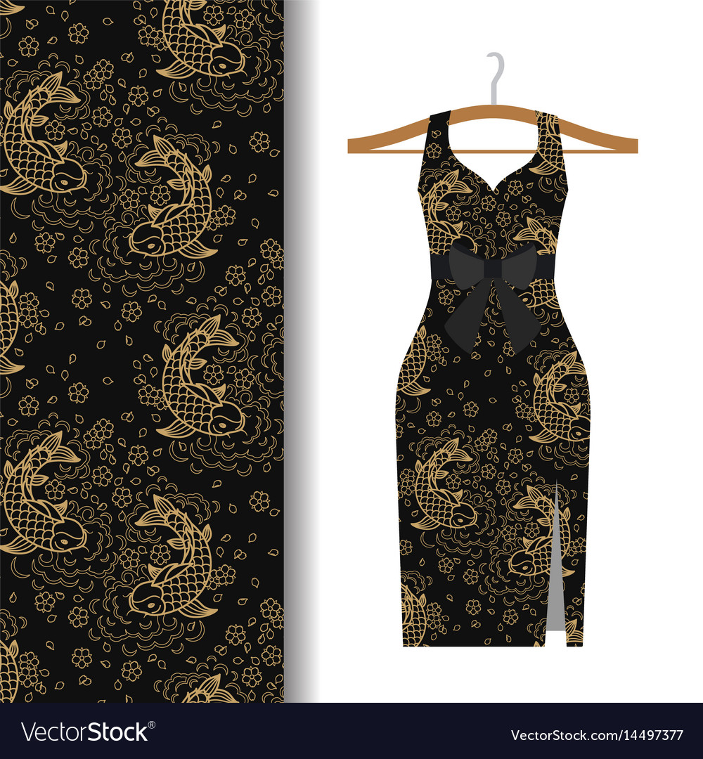 Dress fabric pattern with koi fish vector image
