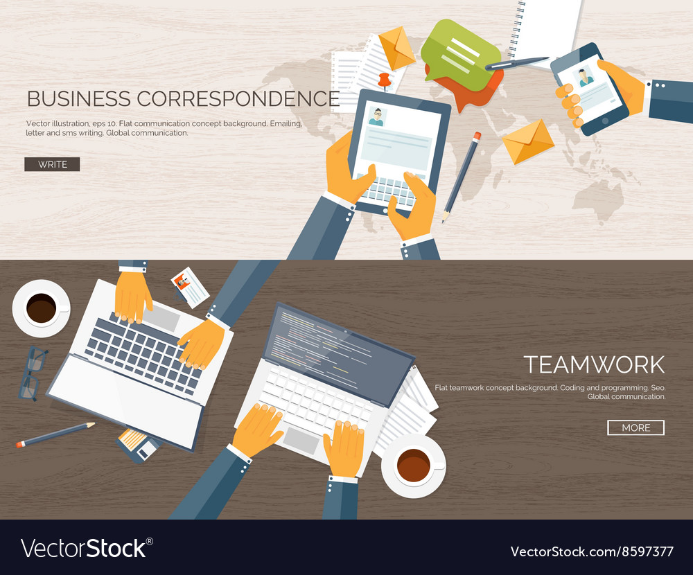 Flat backgrounds set Business