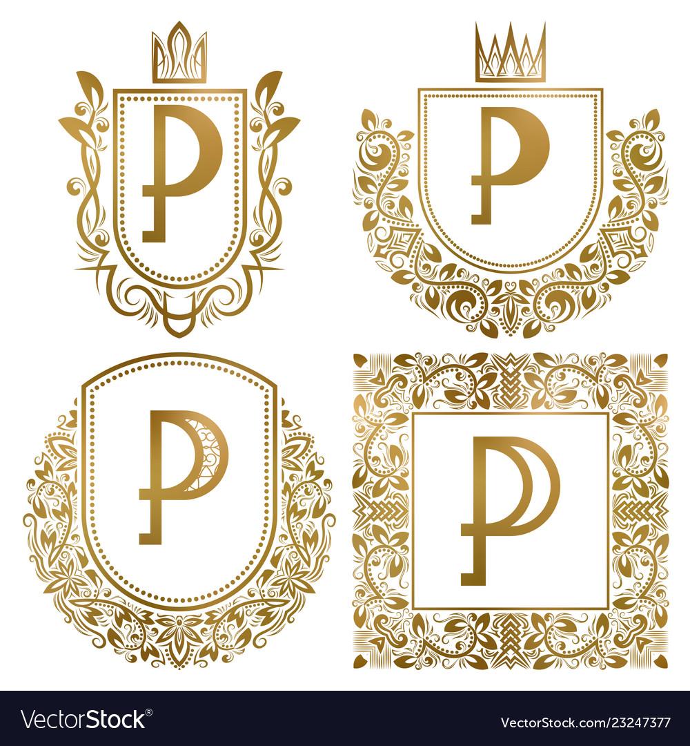 Golden vintage monograms set heraldic logos p