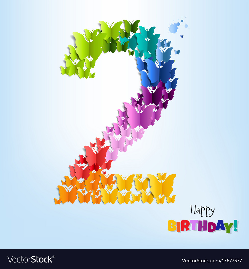 Happy Birthday Card Two Years Vector Image