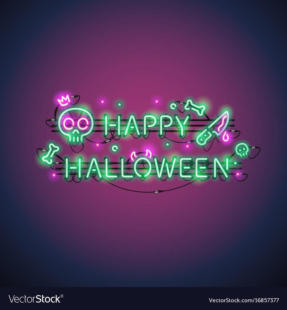 happy halloween neon sign royalty free vector image